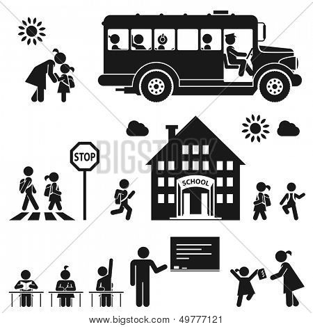 Children go to school. Pictogram icon set