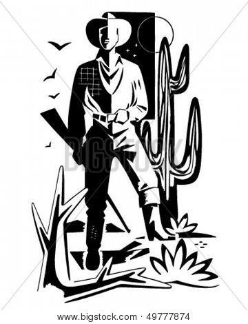 Desert Cowboy Motif - Retro Clip Art Illustration