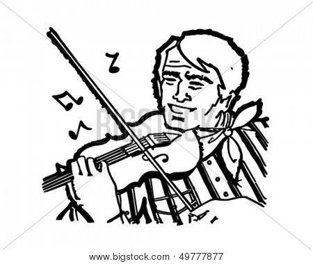 Fiddle Player - Retro Clip Art Illustration