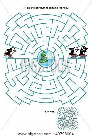 Maze game for kids - skating penguins