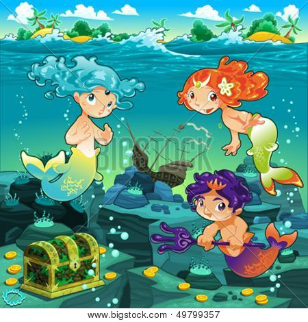 Seascape with mermaids and triton. Vector cartoon illustration