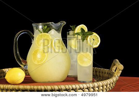Pitcher And Glasses Of Cold Fresh Squeezed Lemonade On Rattan Tray