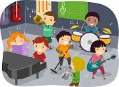 Stickman Illustration Featuring Kids Playing with Different Musical Instruments in a Music Room poster