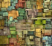 fragmented multiple color square tile grunge pattern backdrop poster