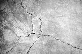 Grunge concrete cement wall with crack in industrial building great for your design and texture background poster