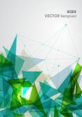 Modern blue and green network transparent triangles abstract background illustration. EPS10 vector with transparency organized in layers for easy editing. poster