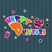 Colorful text Happy Dussehra on abstract background for Indian festival. poster