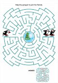 Maze game or activity page for kids: Help the little skating penguin to join his friends. Answer included. poster