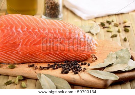 Salmon Fillet On A Cutting Board Close-up