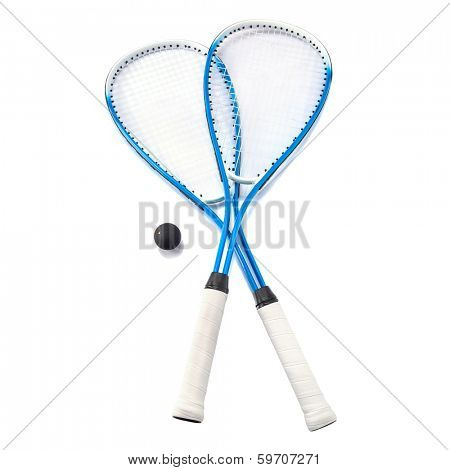 Squash rackets and ball over white