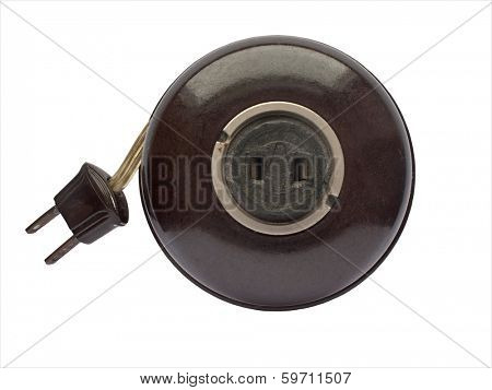 vintage brown bakelite extension cord over white, clipping path