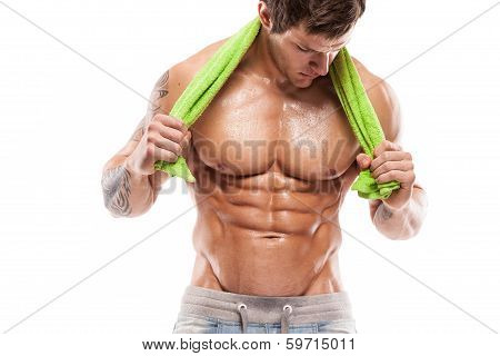 Strong Athletic Man Fitness Model Torso showing six pack abs. holding towel poster