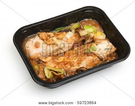 Chicken breasts in red wine sauce ready meal.