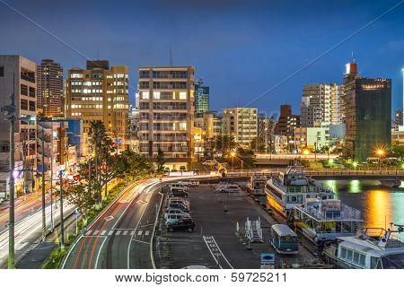 Naha, Okinawa, Japan skyline at the seaport.