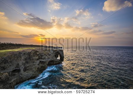 Manzamo Cape in Okinawa, Japan.