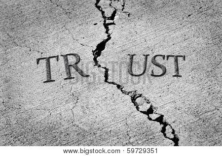 Cracked cement symbolizing broken trust between people or parties