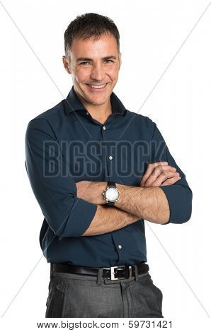 Portrait Of Happy Businessman With Arms Crossed Isolated On White Background
