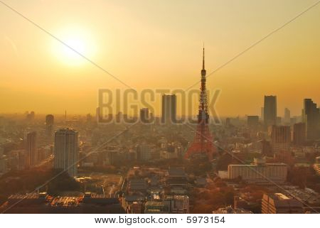 Sunset View Of Tokyo Tower
