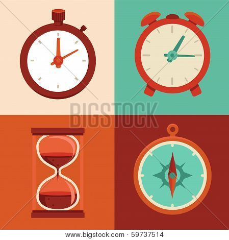 Vector Set Of Flat Icons - Time And Clock Symbols