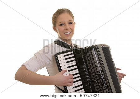 Pretty Young Woman Playing Accordion