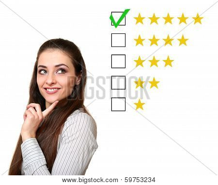 Thinking Customer Woman Choosing Five Star Rating. Good Feedback