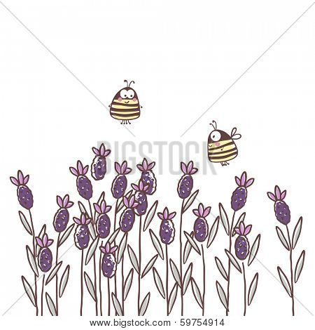 garden theme illustration with lavender and bees