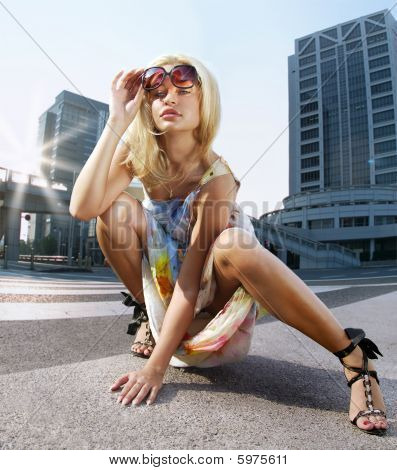 Fashion Blonde Model On A Street
