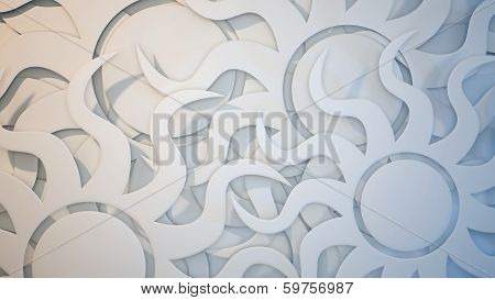 White 3 Dimensional Sun Burst Background
