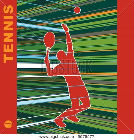 poster of Tennis server silhouette with art background, vector illustration