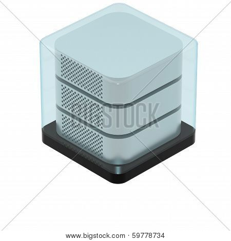 Simple Icon of Secured Server Isolated