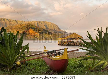 Hawaiian Canoe By Hanalei Pier