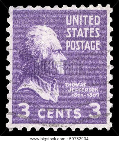 USA-CIRCA 1938: A postage stamp shows image portrait of Thomas Jefferson the 3rd President of the United States of America, circa 1938.