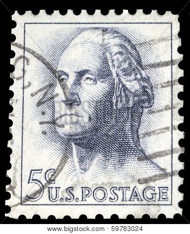 USA-CIRCA 1962: A postage stamp shows image portrait of George Washington the 1st President of the United States of America, circa 1962.