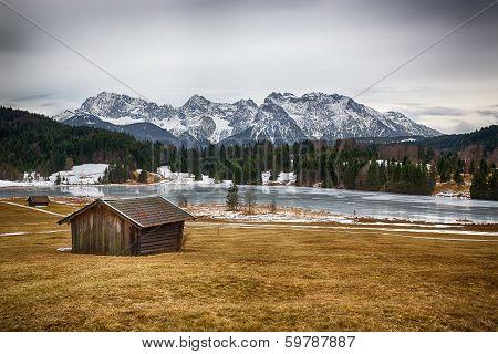 Geroldsee at wintertime, Krün, German Alps