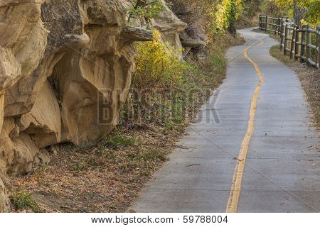 narrow bike and recreation path - fall scenery, Poudre River Corridor Trail between Windsor and Greeley, Colorado