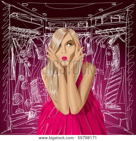 Fashion concept. Vector surprised blonde in pink dress doesn't know what to wear.