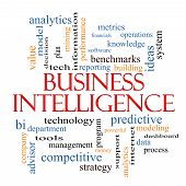 Business Intelligence Word Cloud Concept with great terms such as predictive modeling analytics and more. poster