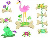 Here is a mix of bones, birds, frog, flowers, and trees. poster