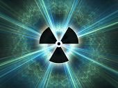 Nuclear radiation symbol on a blue background. Simple Flat design. poster