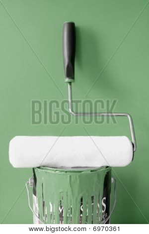 Roller And Khaki Green Paint