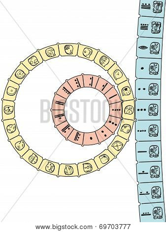 The Maya calendar consisting of Tzolkin combined with Haab to form a Calendar Round. Showing the first day of the new calendar round - doomsday. poster