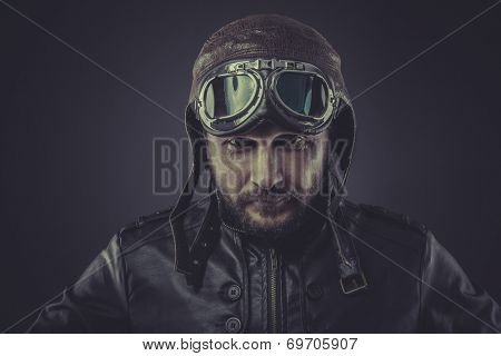 usaf pilot dressed in vintage style leather cap and goggles poster