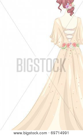 Illustration of a Girl Wearing a Shabby Chic-Themed Gown