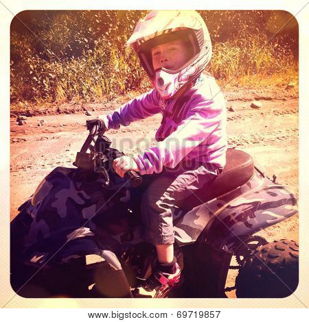 Girl driving atv - With Instagram effect