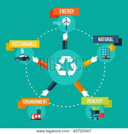Recycle Hands Diagram Flat Concept Illustration