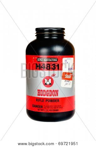 Hayward, CA - August 7, 2014: 1Lb container of Hodgdon H4831 smokeless rifle powder
