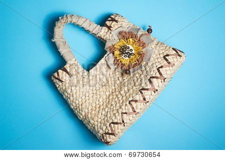 Woman Leather Purse On Blue Background