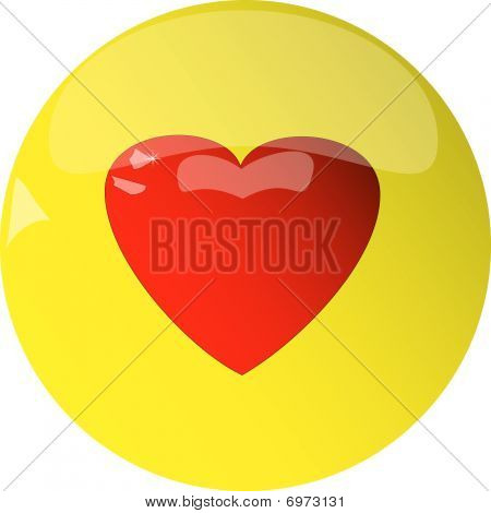 Yellow button with heart