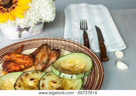 Chicken Wings And Zucchini