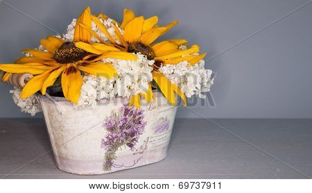 Bouquet Of Flowers In A Pot